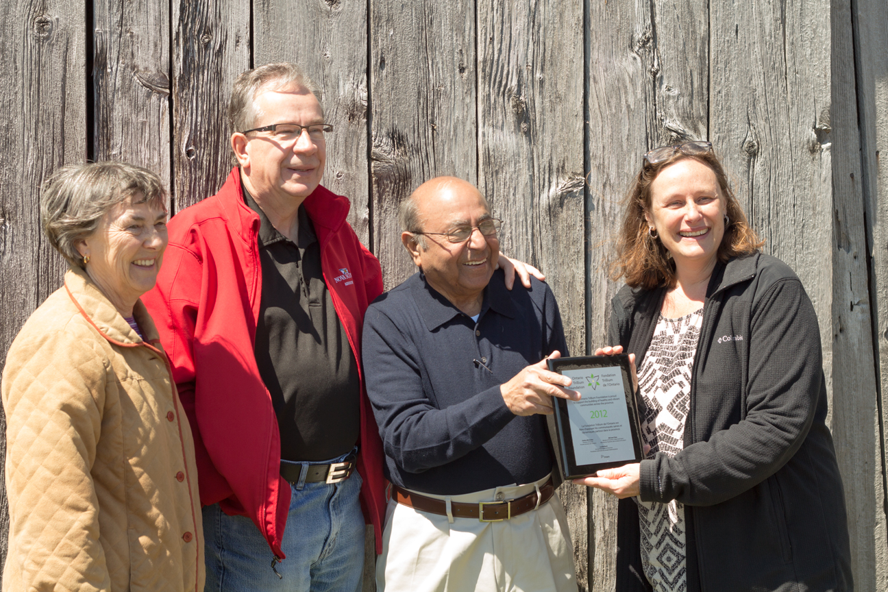FAW OTF Grant Recognition - Mayor Mary Smith, MPP Jeff Leal, Dr. Ramesh Makhija, Pat Learmonth